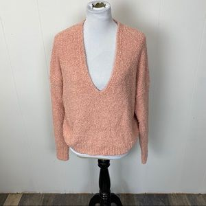 Free People Peach Finders Keepers V-Neck Sweater